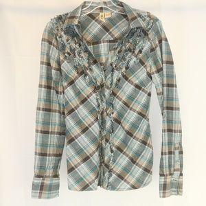 BKE Buckle Women's M Shirt Plaid  Button Front